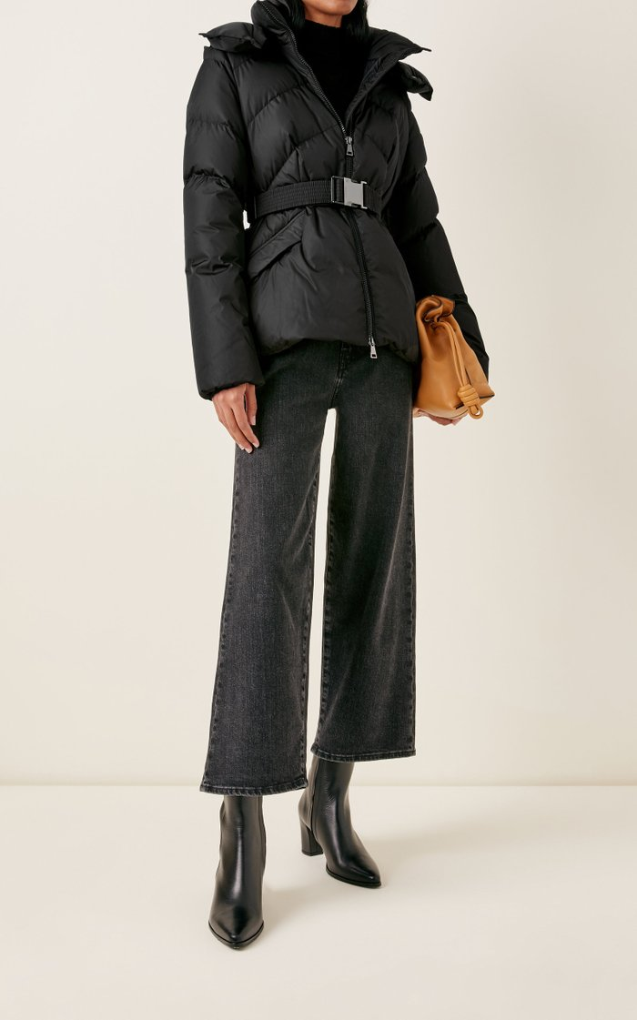 Aloes Belted Short Down Hooded Puffer Coat