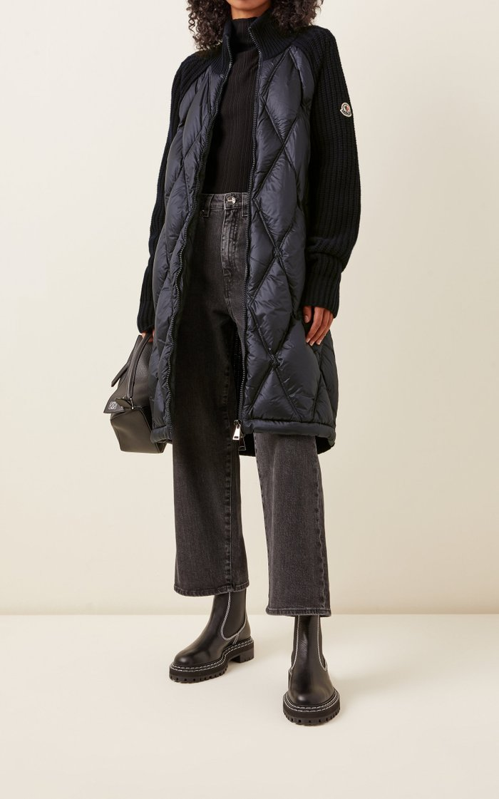 Wool-Cashmere and Down Long Cardigan Coat