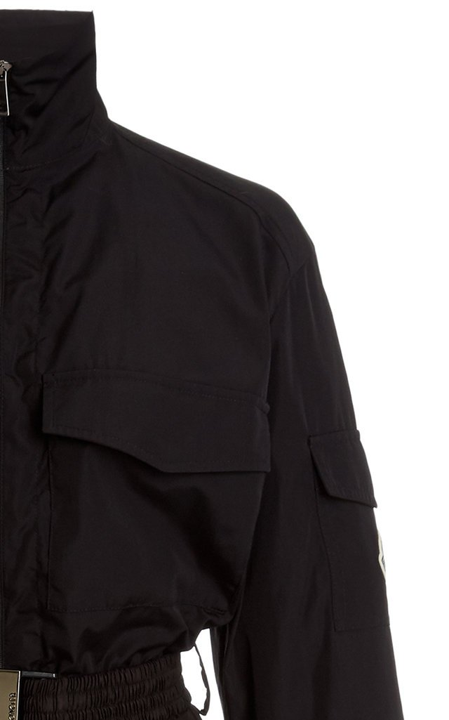 Belted Mixed-Media Dress Jacket