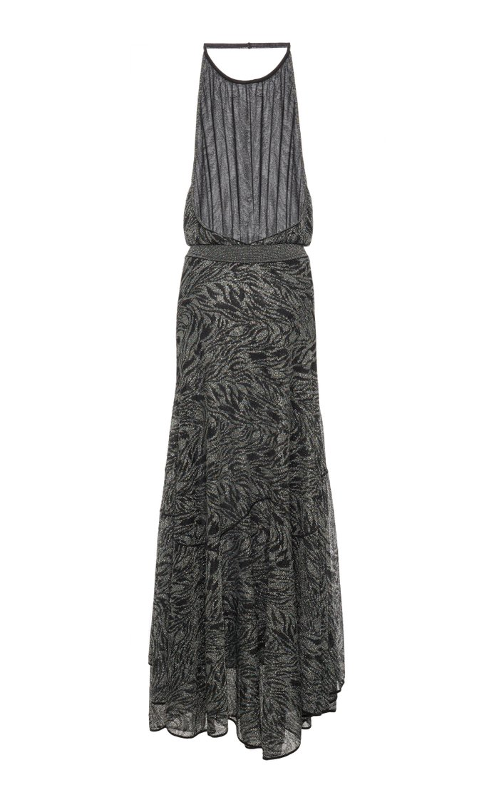 Printed Halterneck Knitted Maxi Dress