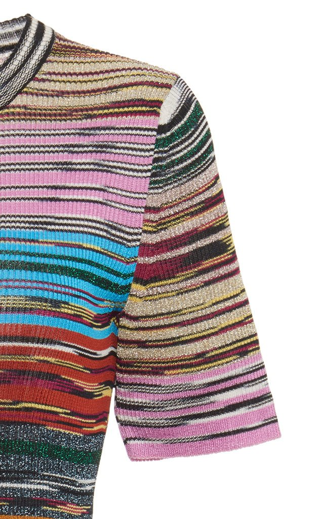 Striped Ribbed-Knit Jersey T-Shirt