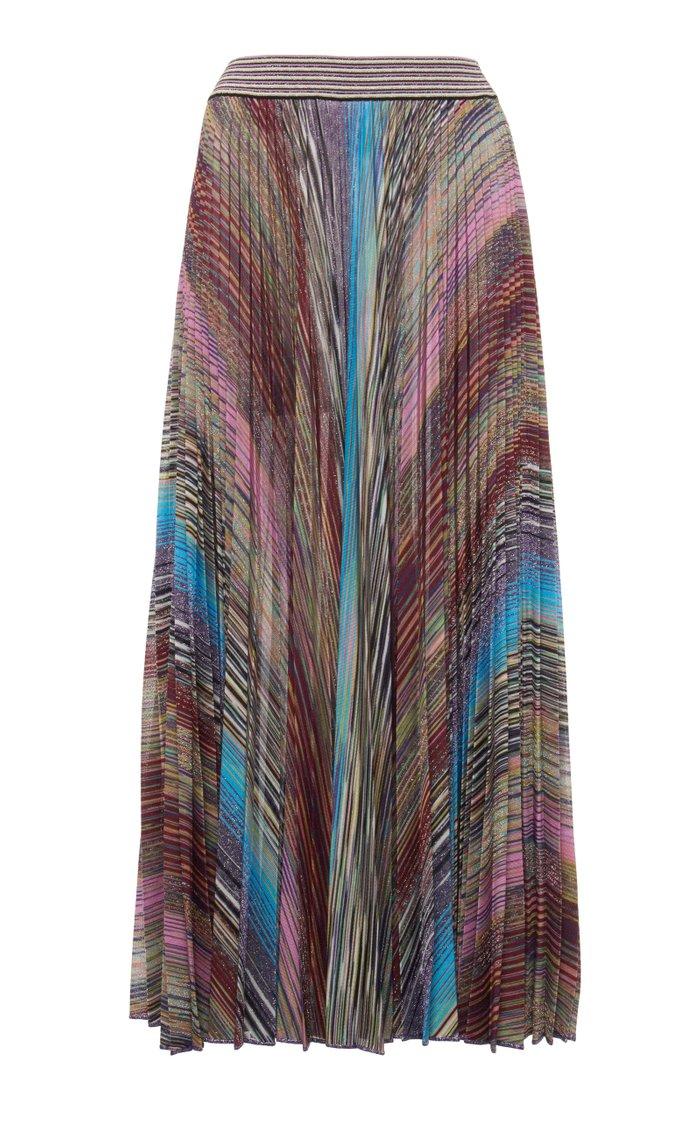 Metallic-Striped Pleated Lamé Midi Skirt