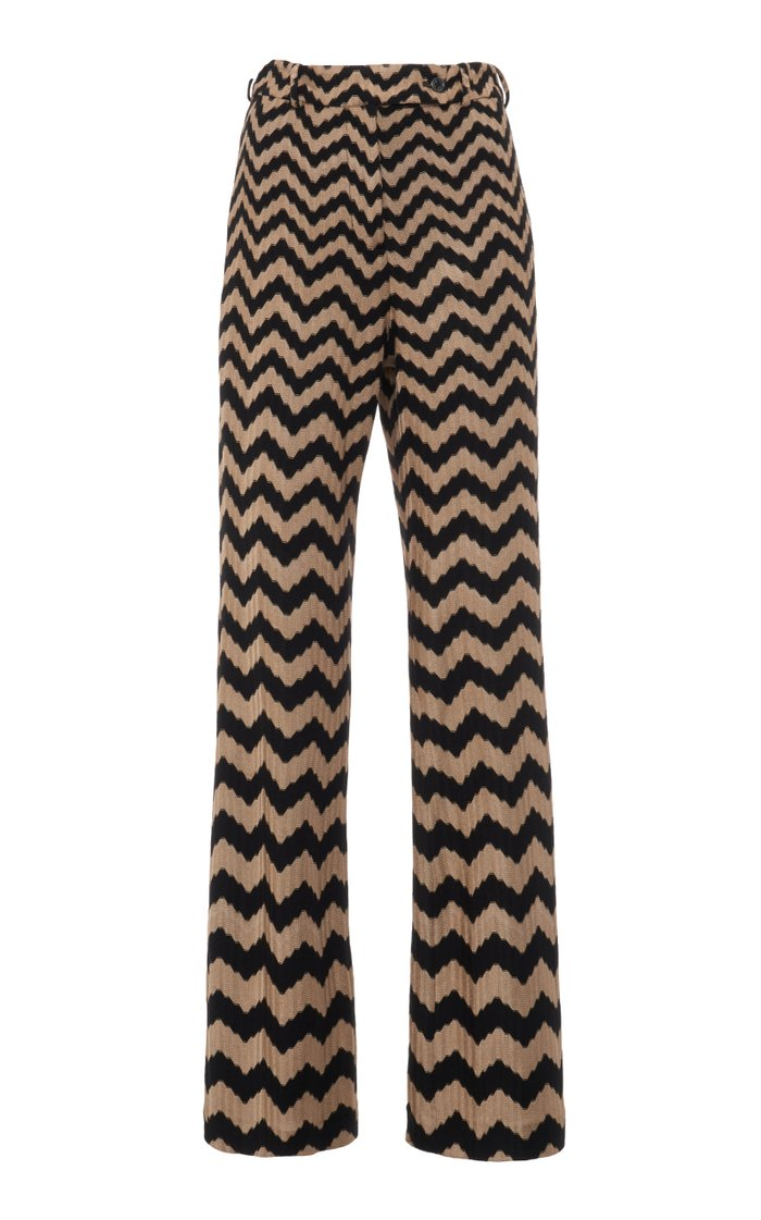 Zig-Zag Stretch-Wool Straight-Leg Pants