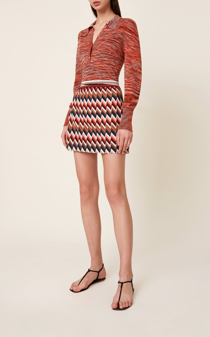 Zig-Zag Stretch-Wool Mini Skirt