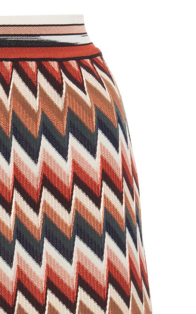 Zig-Zag Stretch-Wool Mini Skirt