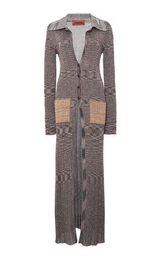 Patch-Pocket Ribbed Knit Cardigan Jacket