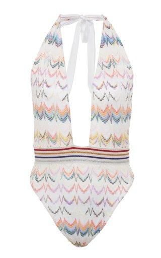 Crochet-Knit One-Piece Swimsuit