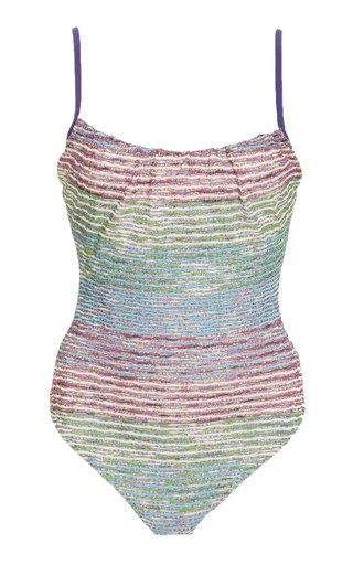 Metallic Striped One-Piece Swimsuit