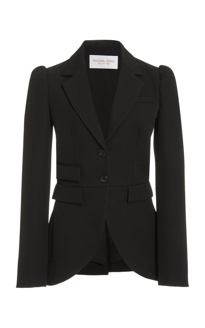 Puffed-Sleeve Gabardine Blazer