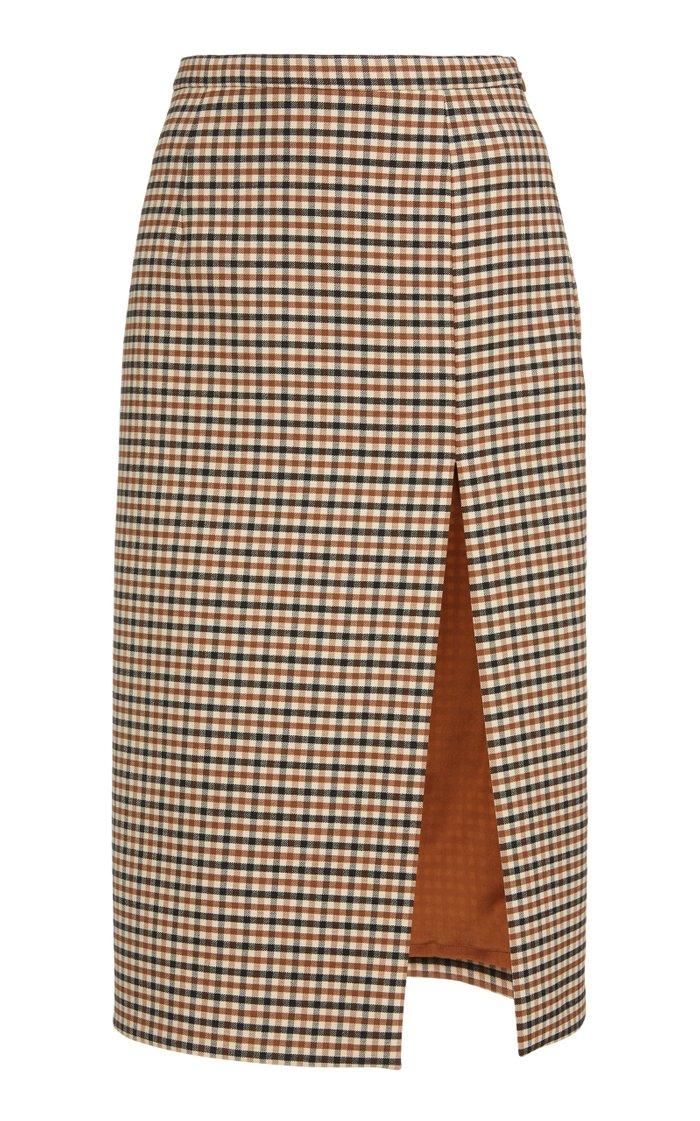 Side Slit Gabardine Pencil Skirt