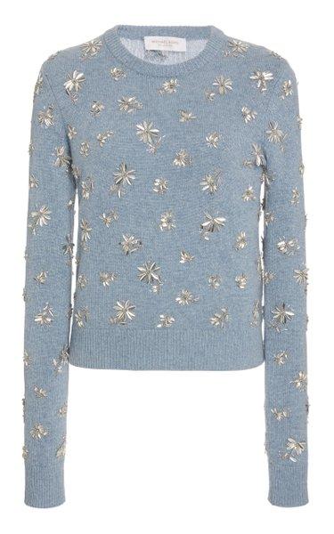 Floral-Embellished Cashmere Sweater