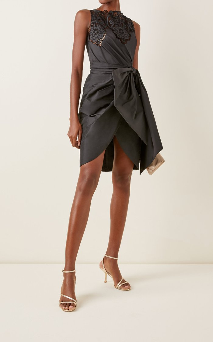 Loly Gathered-Bow Crepe Mini Dress
