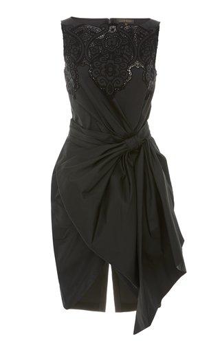 Loly Gathered-Bow Crepe Mini Dress