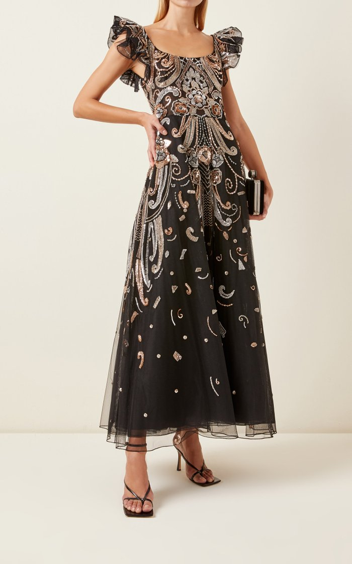 Baker Sequined Chiffon Maxi Dress