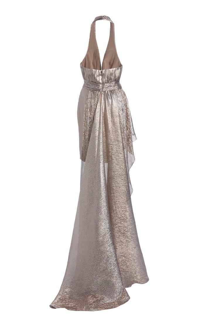 Keefe Draped Silk-Blend Lamé Mini Halter Dress