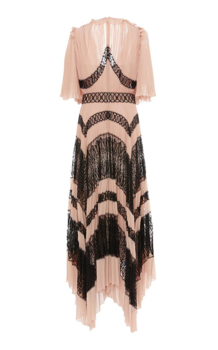 Lace-Paneled Pleated Crepe Dress