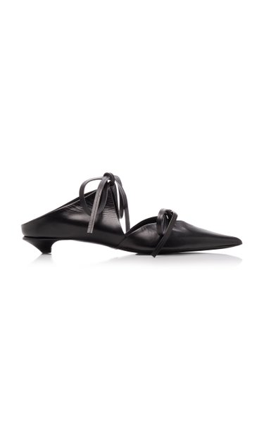 Tie-Detailed Leather Mules