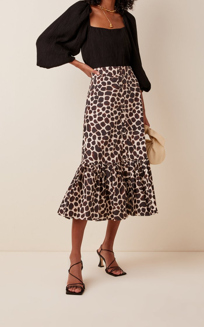 Georgica Printed Cotton-Poplin Midi Skirt