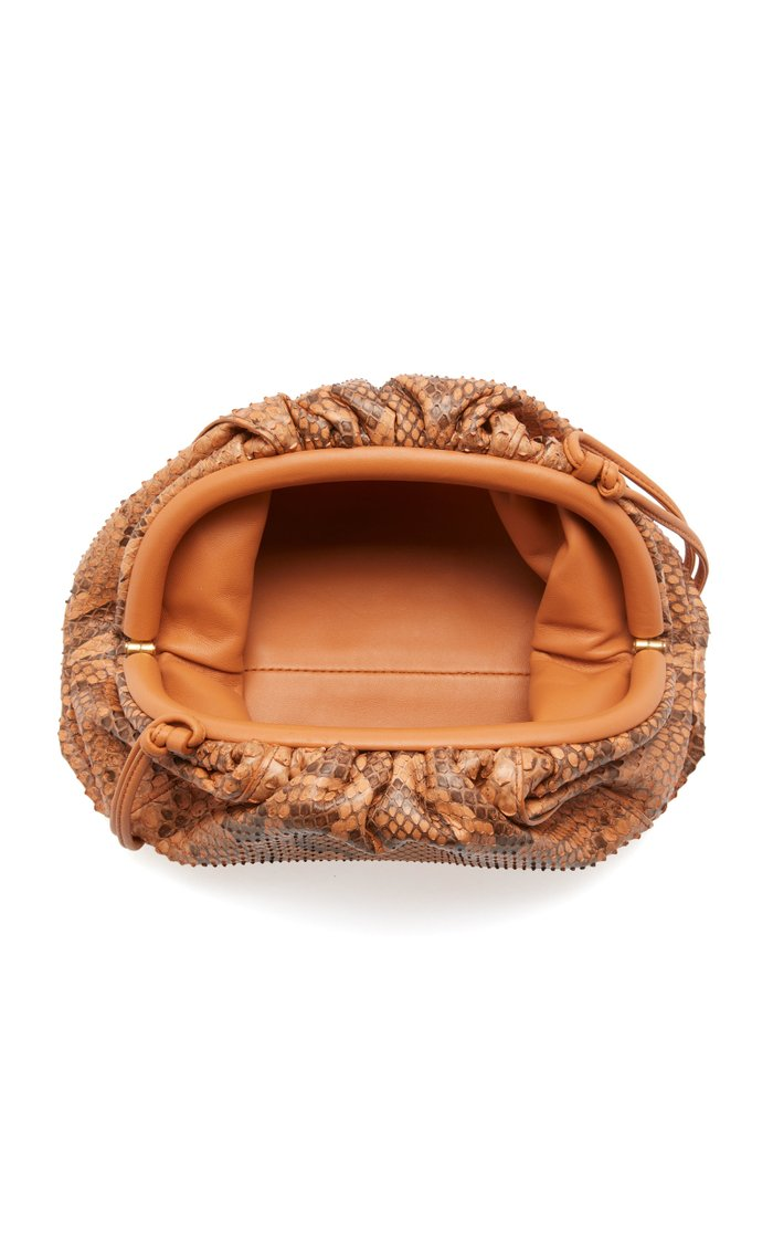 Snake-Effect Mini Leather Pouch