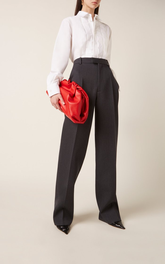 The Pouch Gathered Leather Clutch