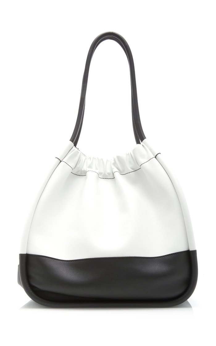 Ruched Two-Tone Leather Tote