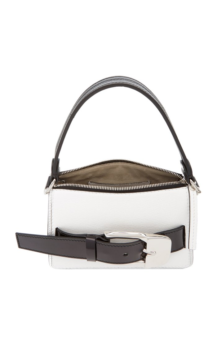 Buckle-Embellished Two-Tone Leather Top Handle Bag