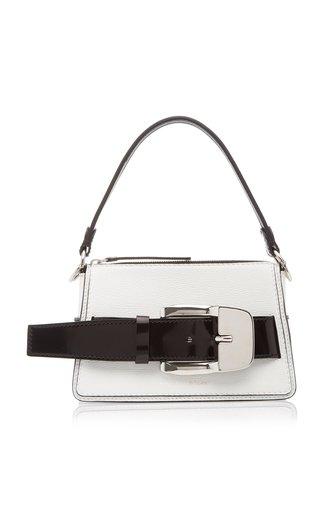Buckle-Embellished Two-Tone Leather Top Handle Bag
