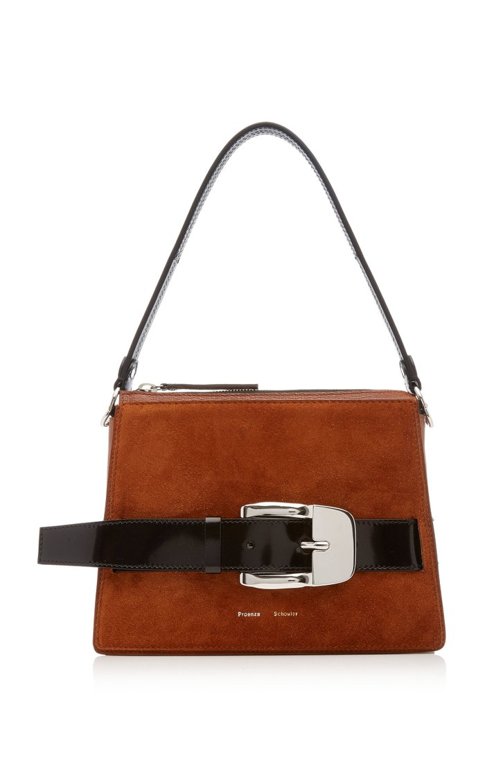 Buckle-Embellished Two-Tone Suede Top Handle Bag
