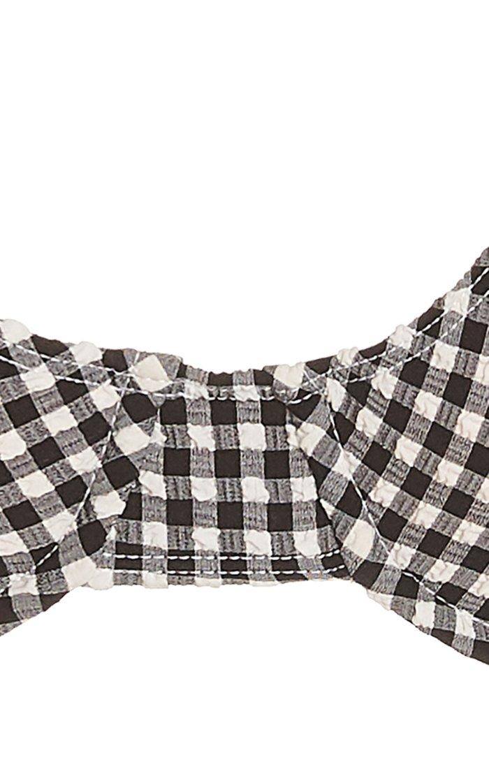 Le Voilier Gingham Print Bikini Top
