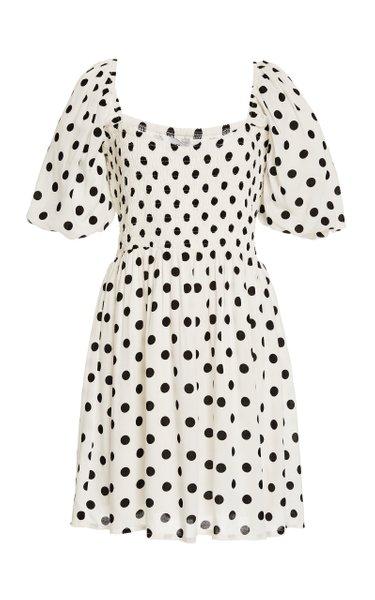 Ilaria Polka Dot Crepe Mini Dress