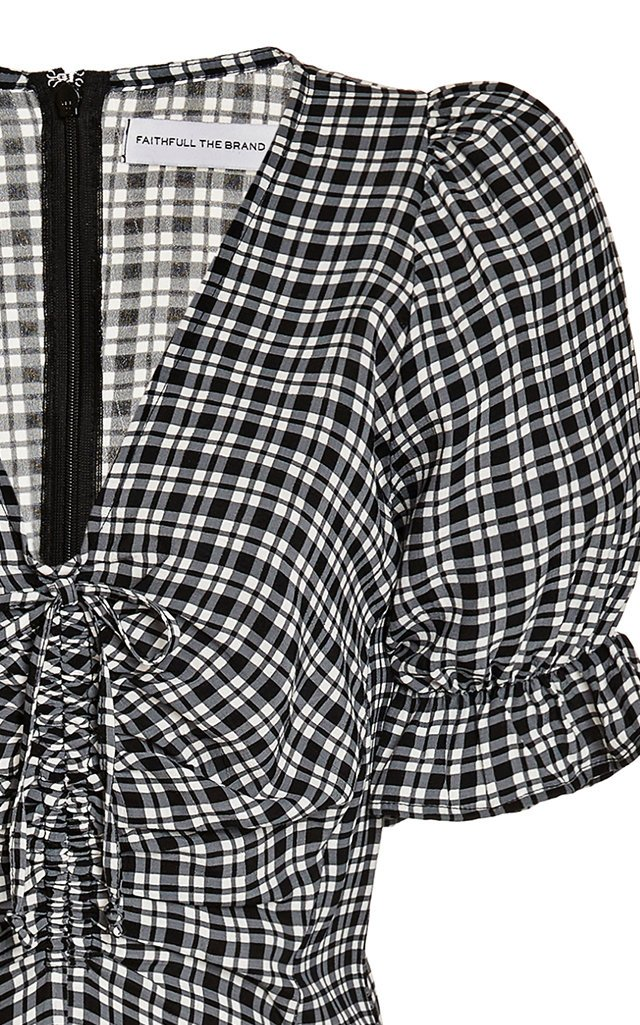Amber Ruched Check-Print Crepe Midi Dress