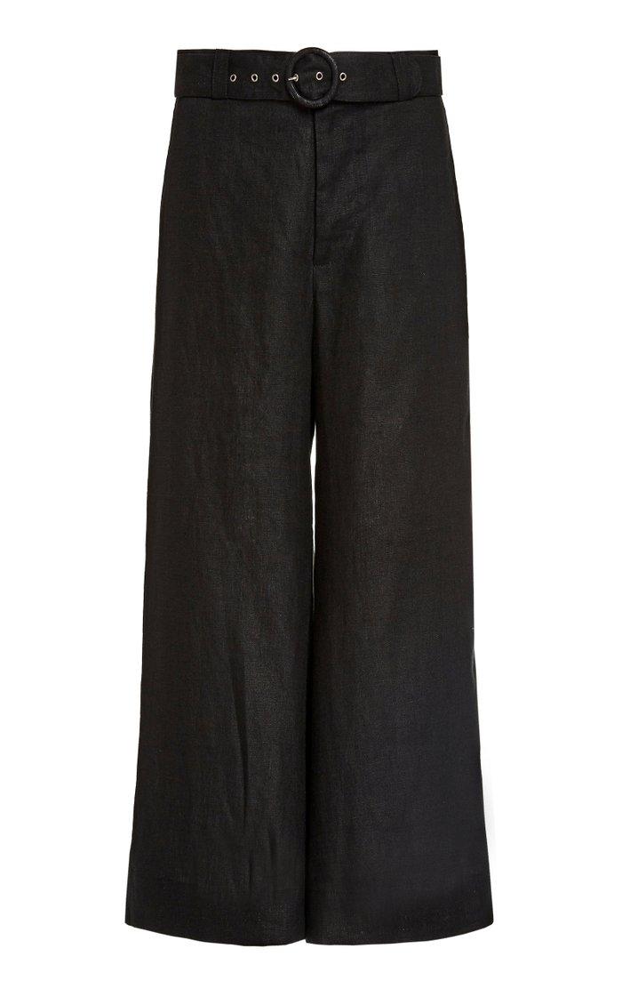 Lissandra Linen Cropped Wide-Leg Pants