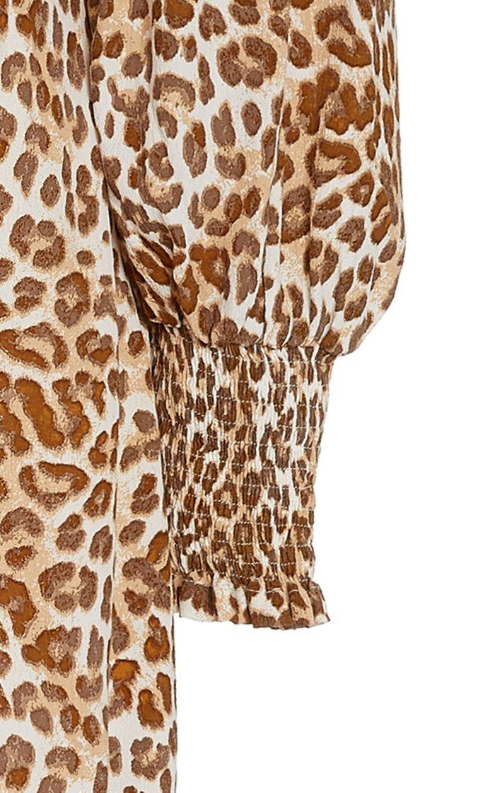 Malini Leopard Print Midi Dress