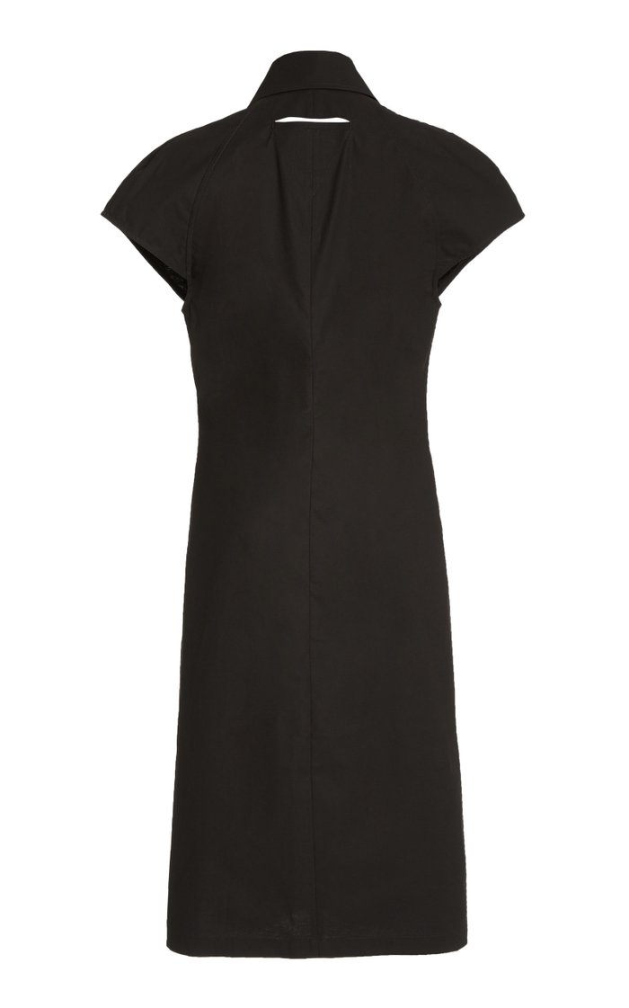 Button-Detailed Cotton-Blend Midi Shirt Dress