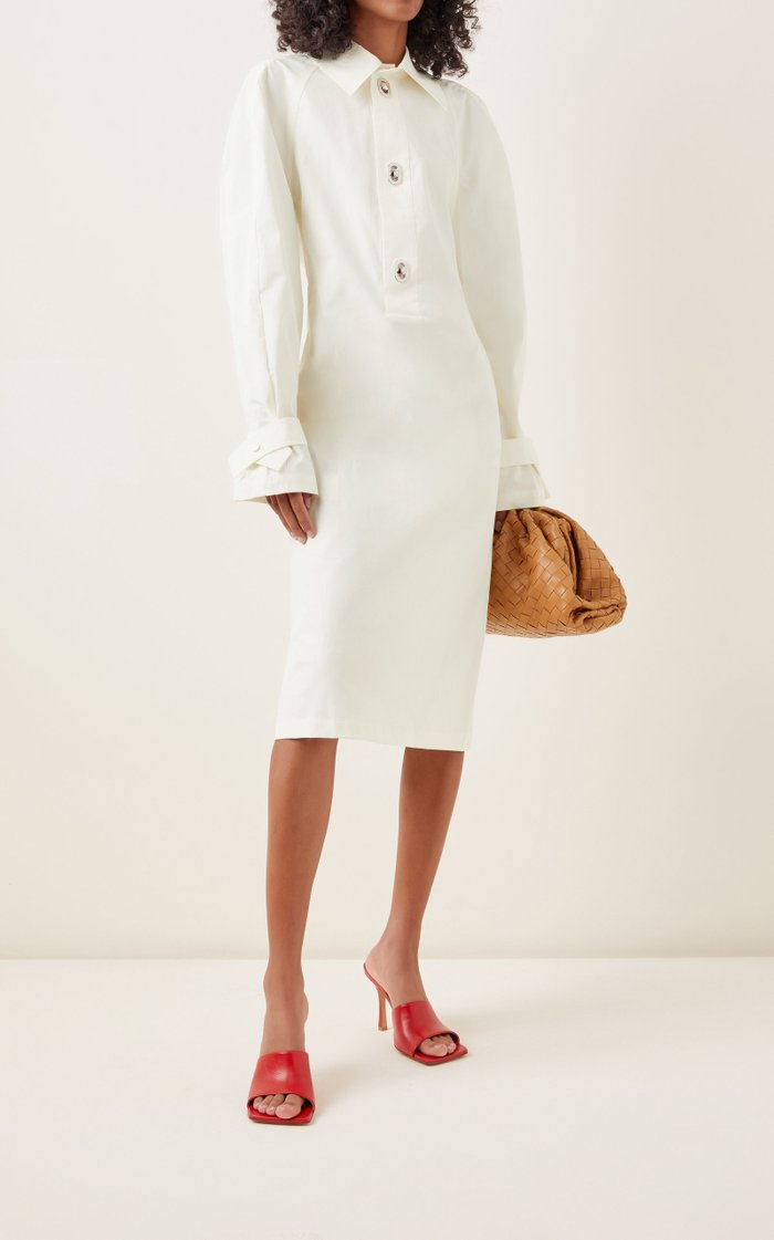 Cotton-Blend Midi Shirt Dress