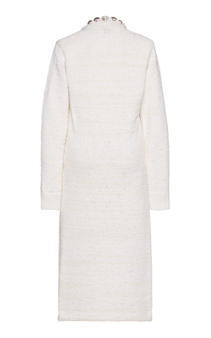 Embellished Knitted Cotton-Blend Midi Dress