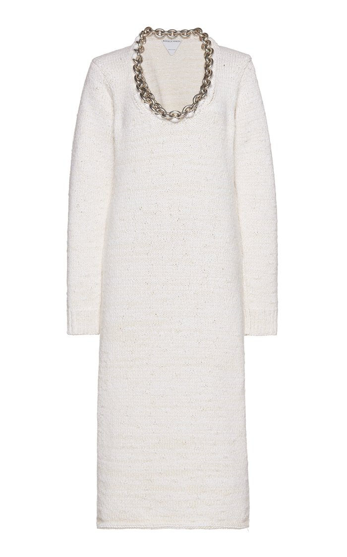 Embellished Knitted Cotton-Blend Midi Dress