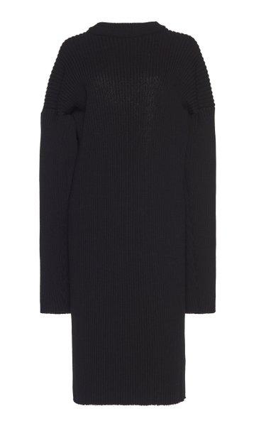 Open-Back Knitted Wool-Blend Midi Dress