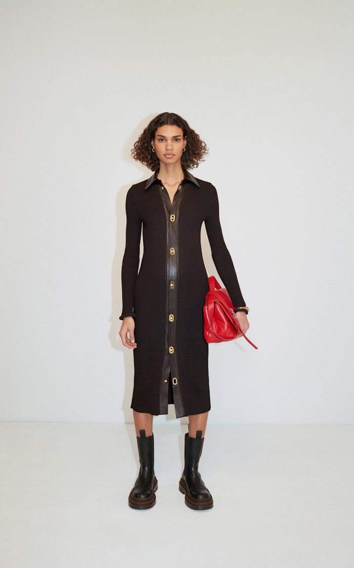 Collared Knitted Wool-Blend Midi Dress