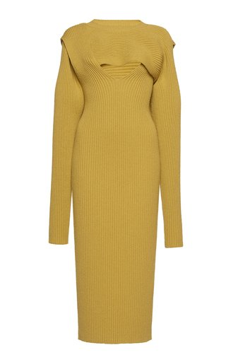 Ribbed Knit Cutout Midi Dress
