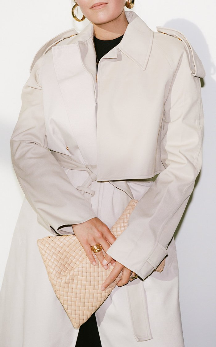 Removable Sleeve Crepe Trench Coat