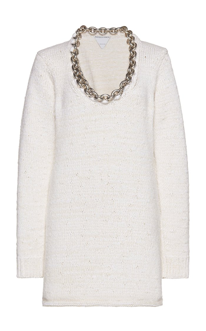 Chain-Detailed Cotton-Blend Knit Top