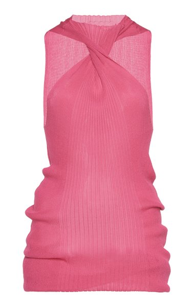 Twisted Ribbed Cotton-Blend Tank Top