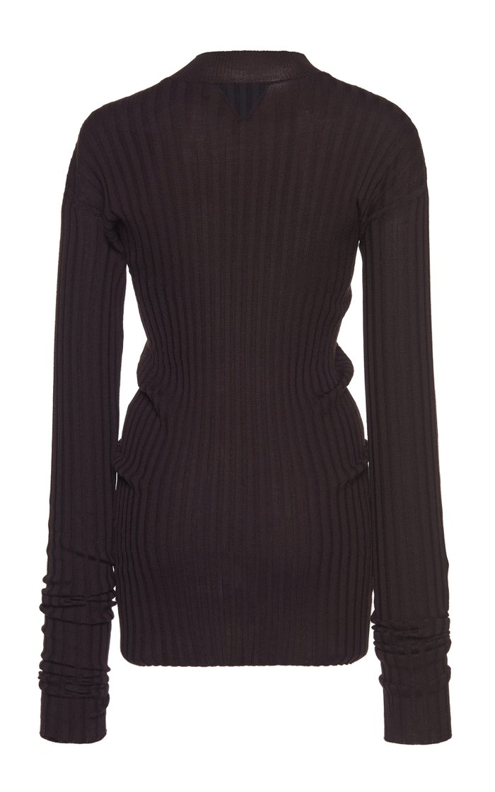 Ribbed Wool High-Neck Top