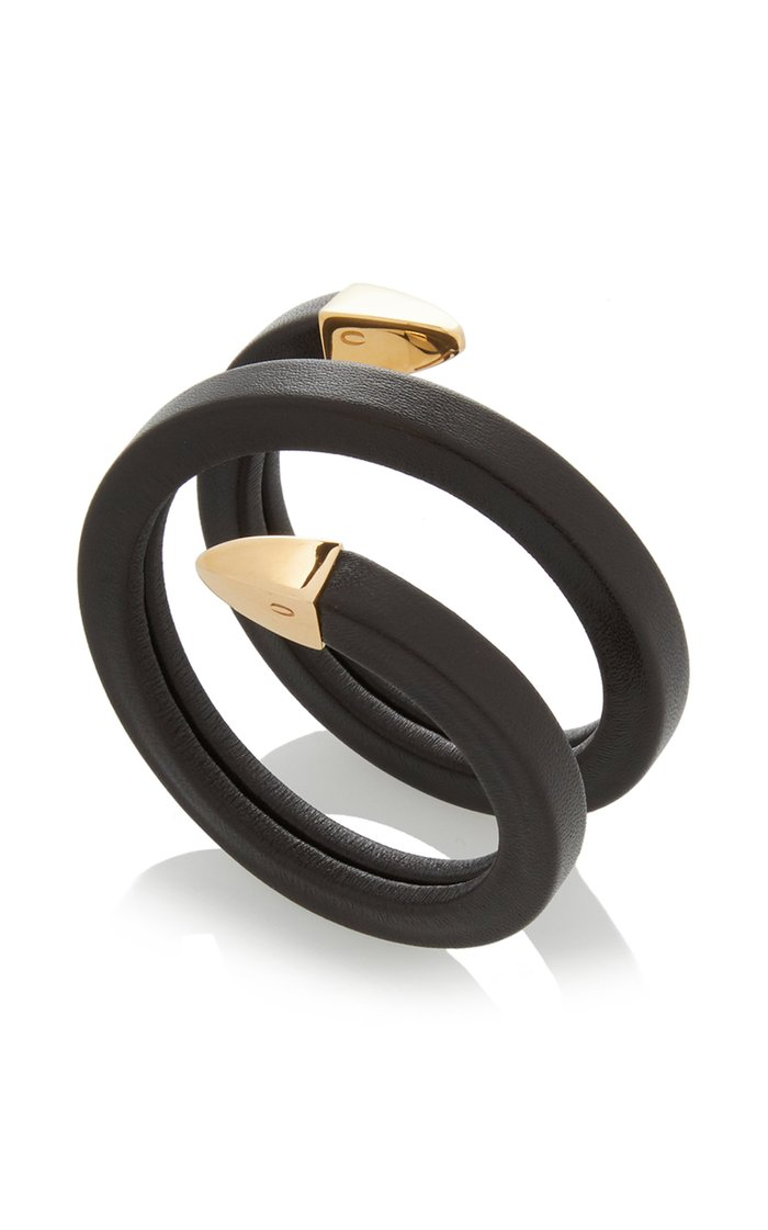 Leather and Metal Coil Cuff Bracelet