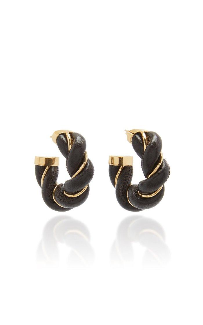 Twisted Leather Hoop Earrings