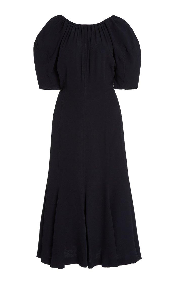 Ruched Puff-Sleeve Crepe Midi Dress