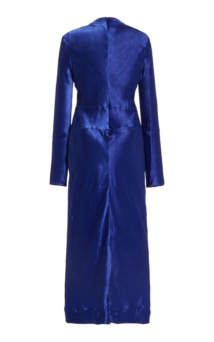 Mockneck Crinkled Satin Midi Dress