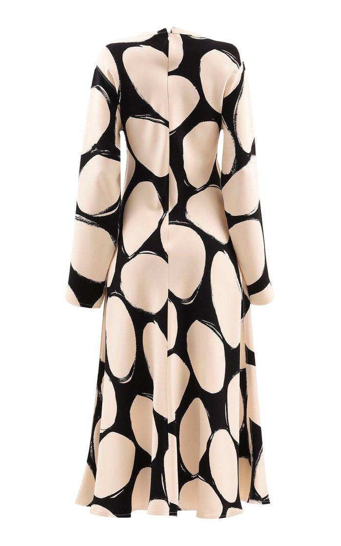 Oversized Polka-Dot Crepe Midi Dress
