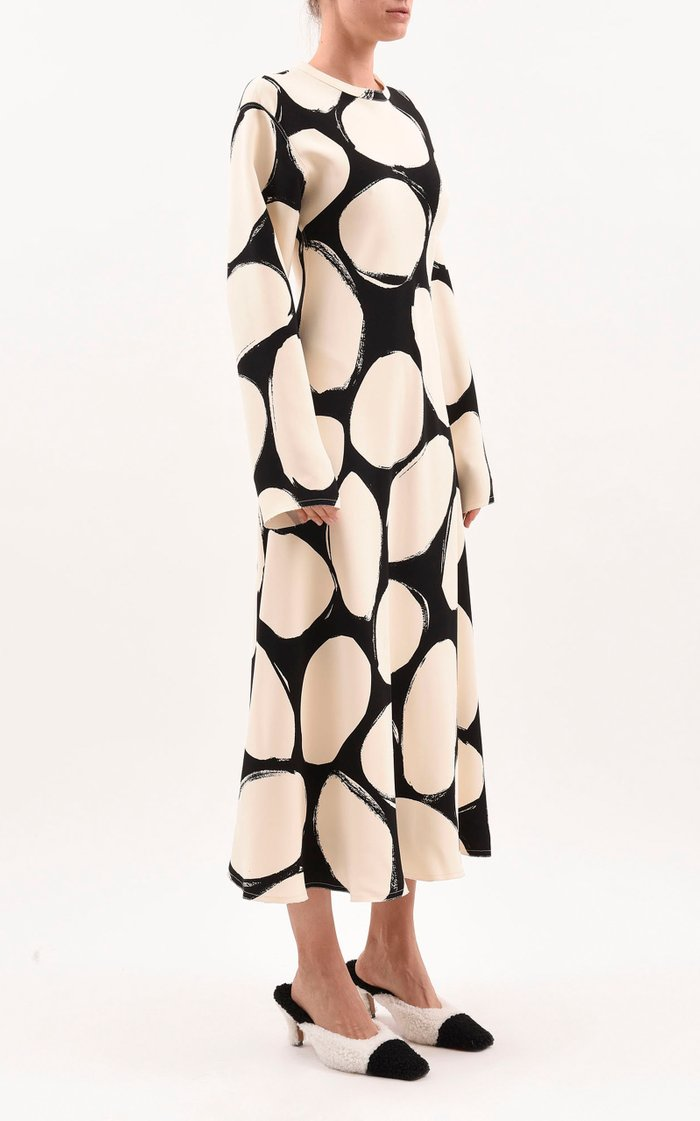Oversized Polka-Dot Crepe Midi Dress